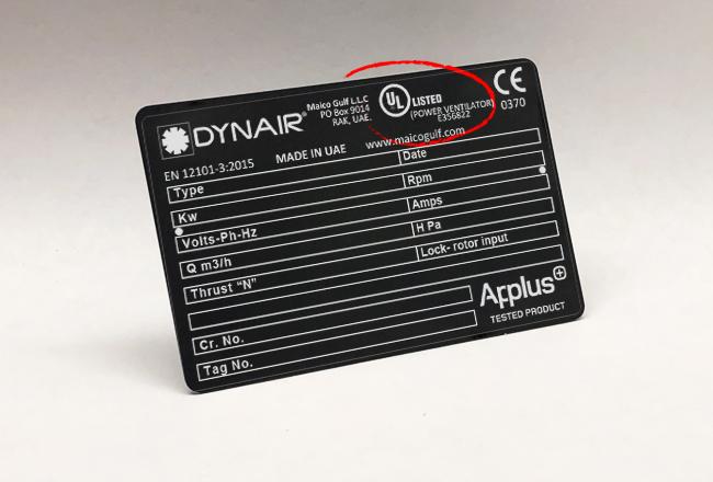 Dynair axial fan product range TA-HT/HP 400 – 1600 380-415V 50/60hz is certified by UL for UL-705 under ZACT category